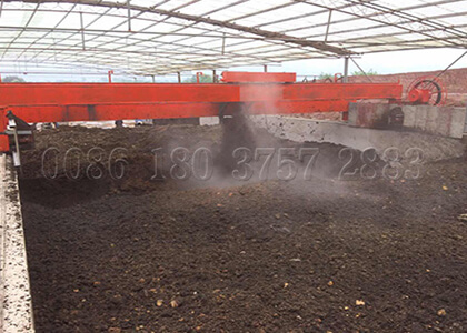 wheel type turner trench composting